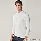 GIORDANO 男裝純棉磨毛素色長袖POLO衫-01 標誌白