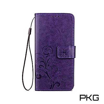 PKG SONY XZ2  側翻式皮套-精選皮套系列-幸運草-紫