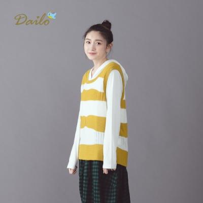 【Dailo】學院風條紋-針織背心(三色)