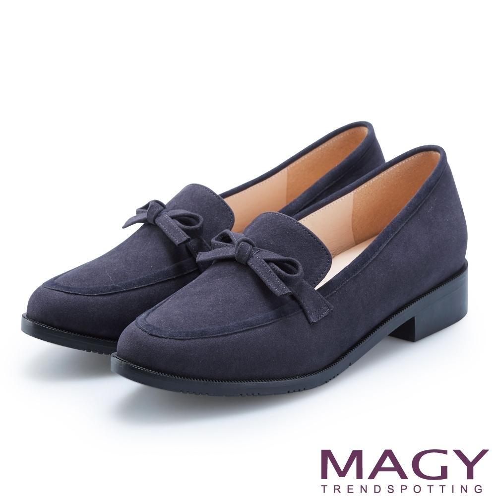 MAGY 復古潮流 氣質蝴蝶結絨布低跟鞋-藍色