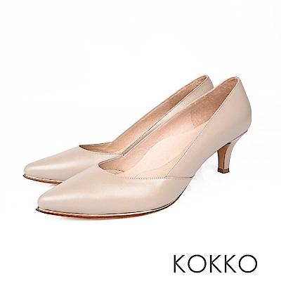 KOKKO - 女王品味尖頭鑲嵌金屬真皮高跟鞋 - 紳士灰