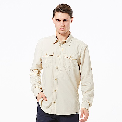 【HAKERS 哈克士】男 抗UV快乾長袖襯衫-卡其