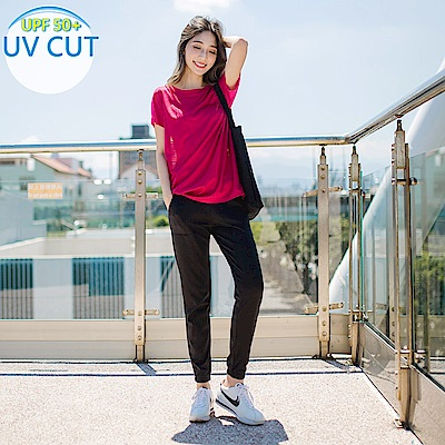 台灣製造~抗UV保暖磨毛腰鬆緊縮口運動長褲-OB大尺碼