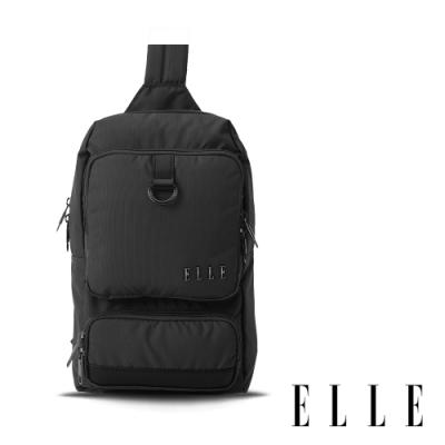 ELLE 都市再生系列 輕量多隔層搭配皮革設計休閒單肩包-灰 EL83933