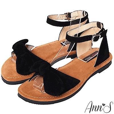 Ann'S水洗牛皮-甜美扭結寬版平底涼鞋-黑