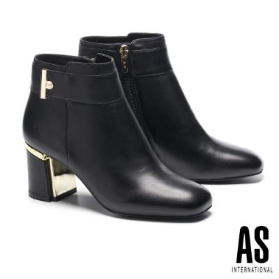 短靴 AS 典雅珍珠帶釦全真皮方頭高跟短靴-黑