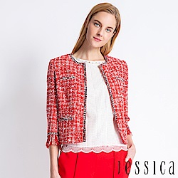 JESSICA - 優雅粗花呢流蘇長袖外套(紅)