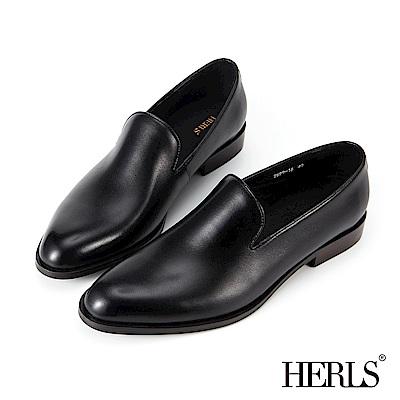 HERLS 全真皮 奶油光擦色橢圓頭樂福鞋-黑色