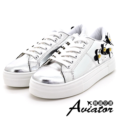 Aviator*韓國空運-立體小花造型百搭厚底懶人鞋-銀