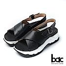 bac加州陽光-大交叉簡約純色運動風厚底涼鞋-黑