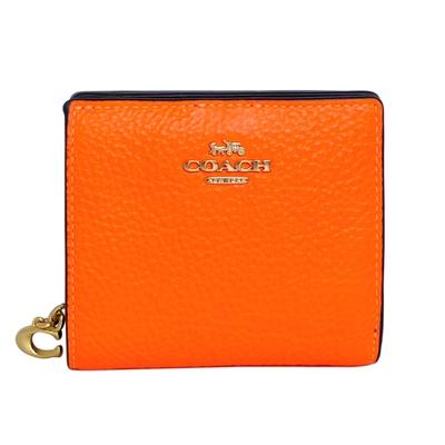 COACH螢光橘荔枝紋全皮C字拉鍊袋釦式雙摺短夾