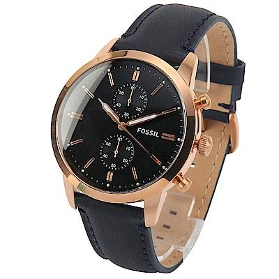 FOSSIL Townsman 二眼計時皮革腕錶-(FS5436)-43mm