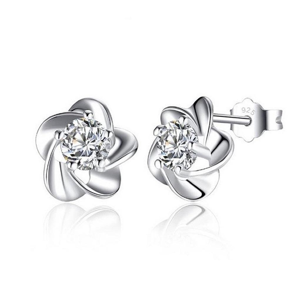米蘭精品 925純銀耳環-精美花朵鑲鑽耳環
