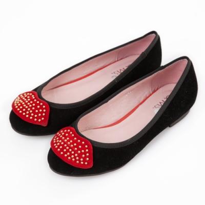 G.Ms.  羊麂皮鉚釘紅唇平底娃娃鞋-黑色