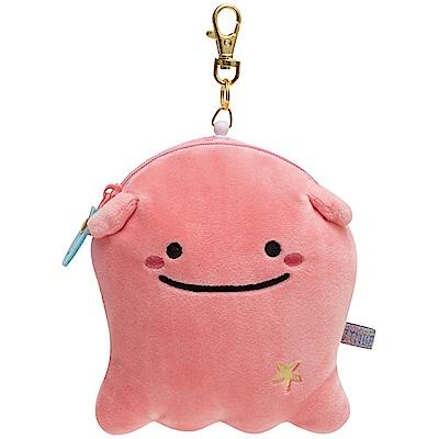 鯨鯊先生微笑的臉系列毛絨伸縮票夾。粉紅章魚San-X