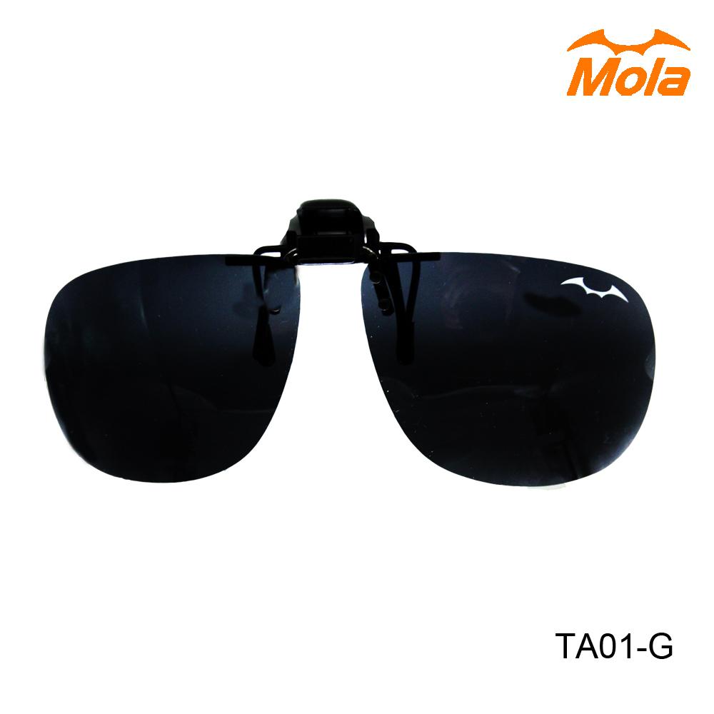 MOLA摩拉偏光前掛可掀太陽眼鏡夾片 UV400 近視/老花可戴-大翻灰