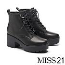 短靴 MISS 21 經典個性全真皮綁帶防水台設計高跟短靴-黑