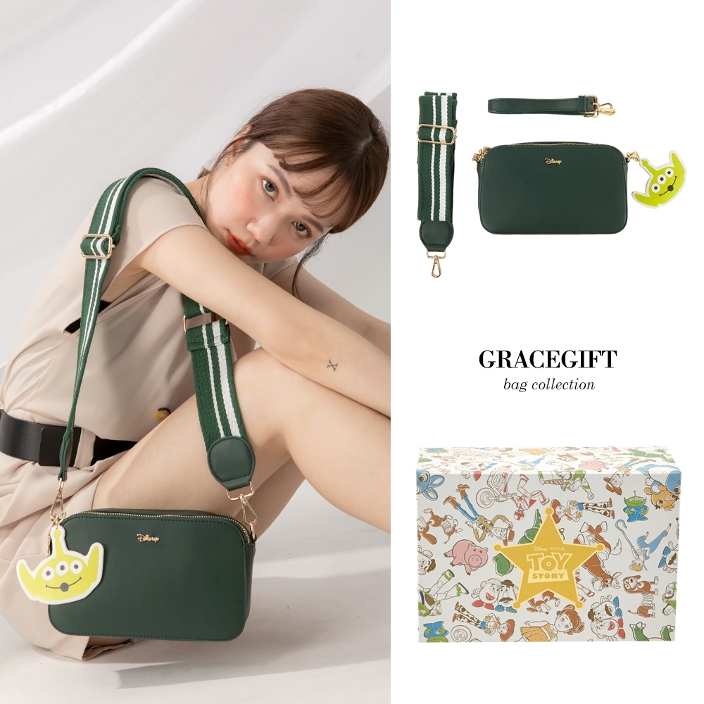 Disney collection by gracegift玩總雙背帶相機包 綠 product image 1