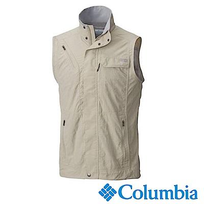 Columbia 哥倫比亞 男款-防曬50快排釣魚背心-卡其 UAE01730KI