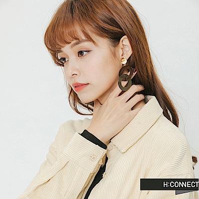 H:CONNECT 韓國品牌 -木紋拼接耳環