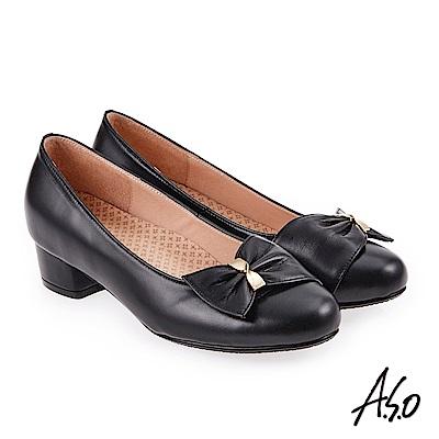 A.S.O 美型對策 職場通勤甜美蝴蝶奈米低跟包鞋 黑