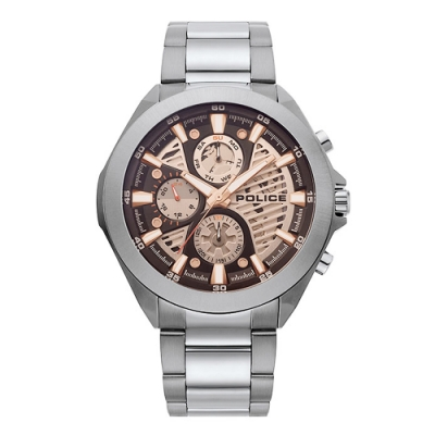 POLICE 鋒芒再現三眼時尚手錶-咖啡X鐵灰/47mm