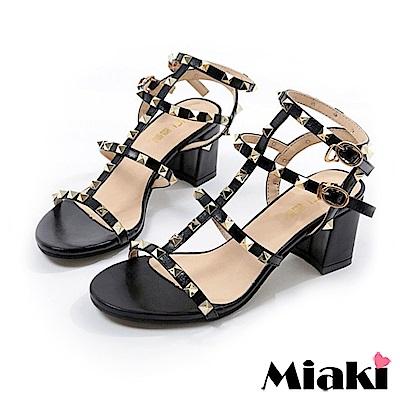 Miaki-涼鞋 東大時尚金屬高跟鞋-黑色