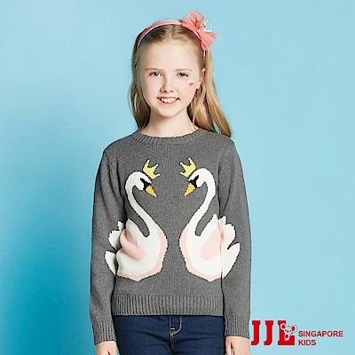 JJLKIDS 芭蕾天鵝針織毛衣(深花灰)