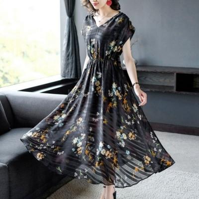 優雅奢華後綁帶顯瘦印花條紋洋裝M-2XL-REKO