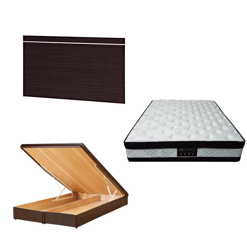 綠活居 梅娜5尺雙人床台三式組合(床頭片+後掀床底+正四線涼感獨立筒床墊)五色可選