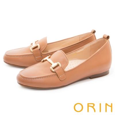 ORIN 經典馬銜釦真皮樂福 女 平底鞋 棕色