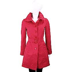 i BLUES 微皺設計布料紅色腰帶風衣