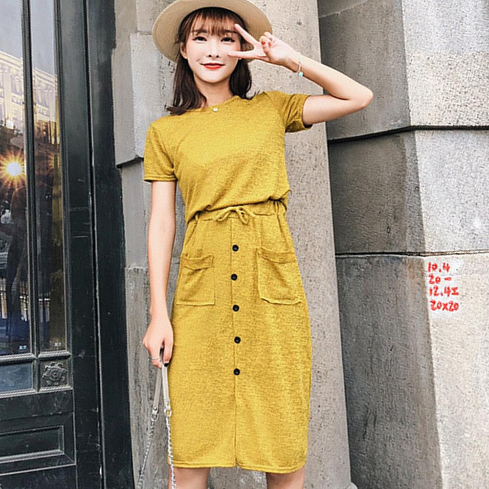 混色上衣+前排釦及膝裙兩件套 (共二色)-Kugi Girl