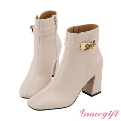 Grace gift X Wei-聯名方頭鎖釦高跟短靴 米白