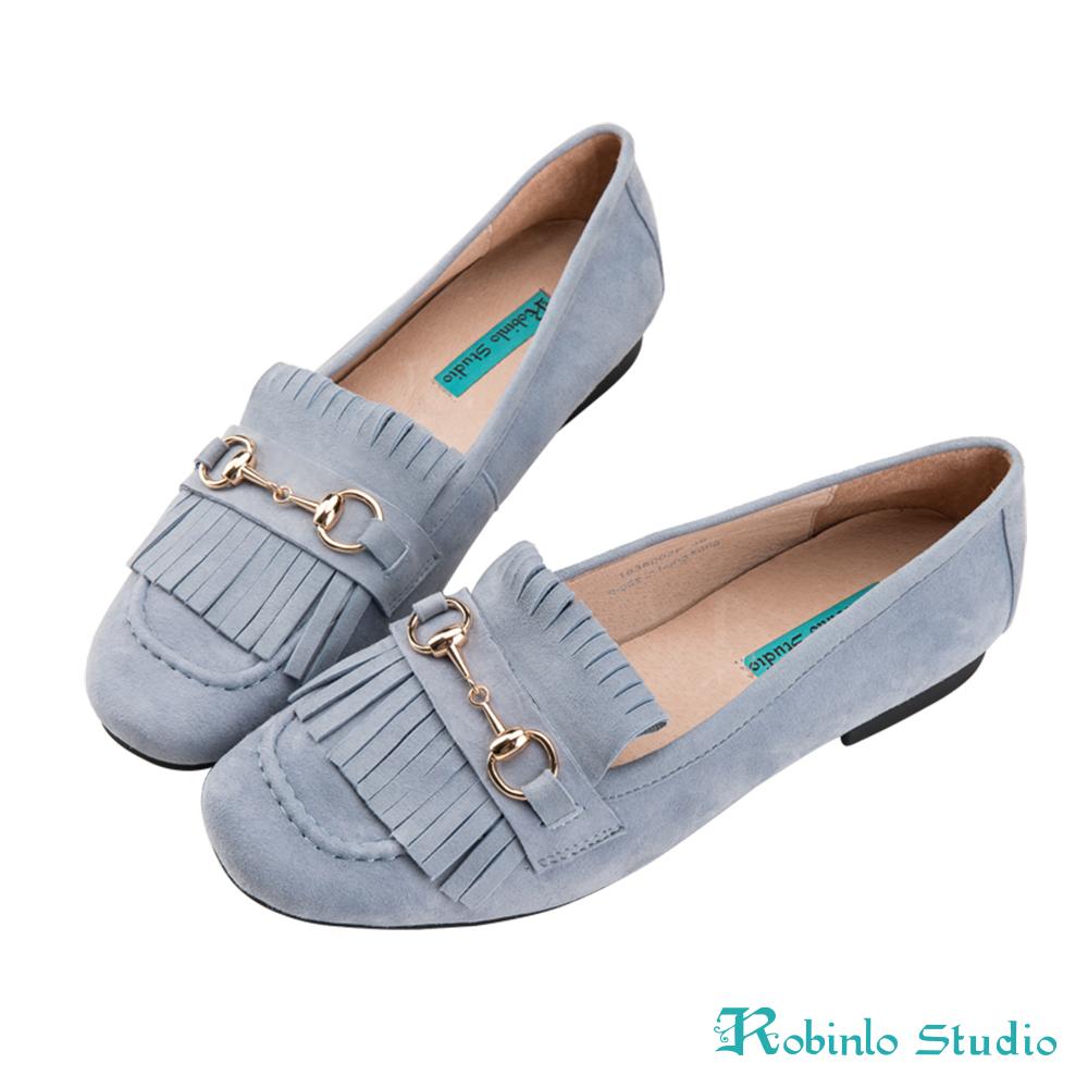 Robinlo 甜美風麂皮流蘇金屬飾扣莫卡辛鞋 藍