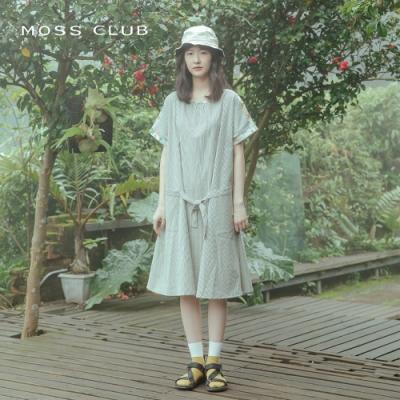 【MOSS CLUB】條紋拼接印花-洋裝(共二色)