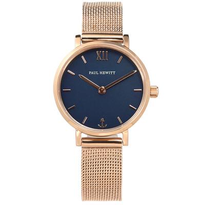 PH PAUL HEWITT 藍寶石水晶玻璃米蘭編織不鏽鋼手錶-藍x鍍玫瑰金/28mm