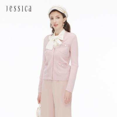 JESSICA - 純羊毛V領長袖鑽飾口袋針織外套