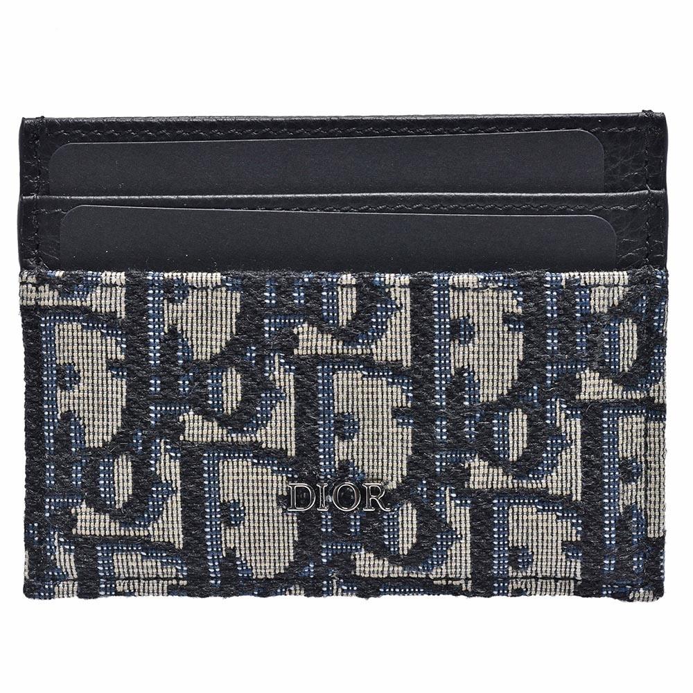 Dior Saddle系列經典OBLIQUE緹花布小牛皮飾邊萬用信用卡夾(藍色)