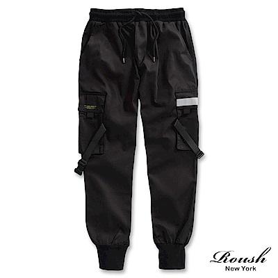 Roush 多口袋傘兵緞帶防風工裝縮口褲(2色)
