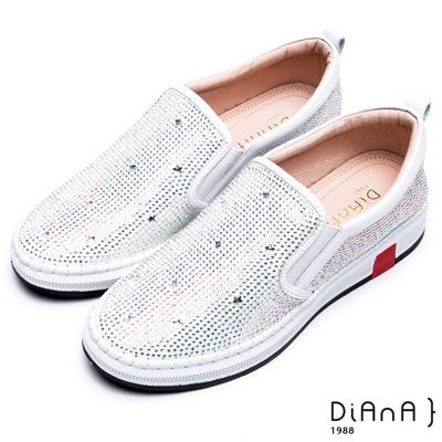 DIANA 樂活時尚—閃耀燙鑽真皮休閒鞋-白