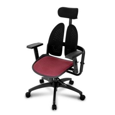 Birdie-德國專利雙背護脊機能電腦椅/辦公椅/紅色網布-74x74x108-132cm