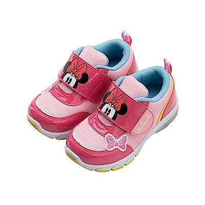 迪士尼童鞋 米妮 魔鬼氈電燈運動鞋-桃