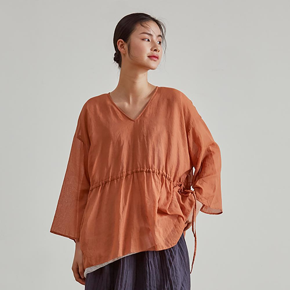 旅途原品_藏白_原創設計棉麻收腰雙層小衫-橘紅