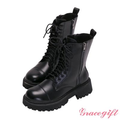 Grace gift-雙拉鍊車線厚底中跟短靴 黑