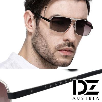 DZ 潮流品味 抗UV 防曬偏光 太陽眼鏡墨鏡(銀框漸層紅灰片)