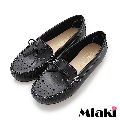 Miaki-豆豆鞋舒適好穿平底懶人鞋-黑