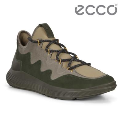 ECCO ST.1 LITE M 舒適輕巧拚色運動休閒鞋 男鞋灰色/森绿色