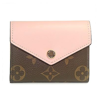 Louis Vuitton M62933 ZOE 經典花紋皮革拼接短夾