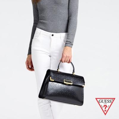 GUESS-女包-菱格紋LOGO手提包-黑